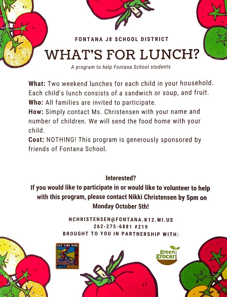 What's For Lunch Program Flyer