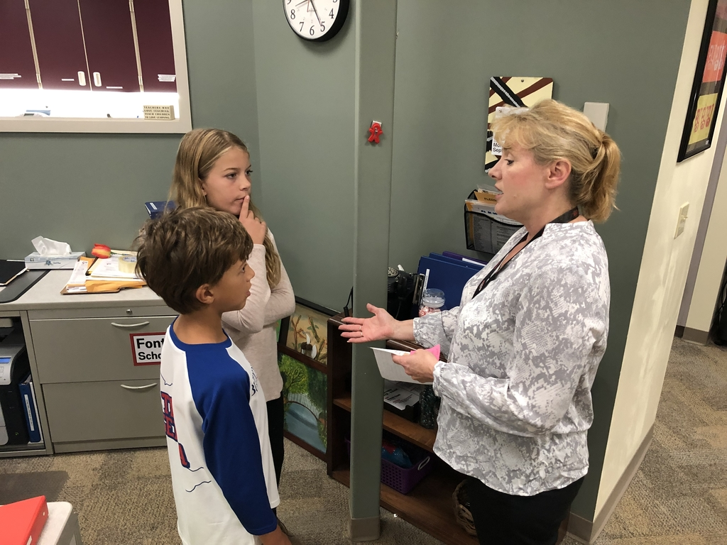 Mrs. Ziganto does our morning announcements with students